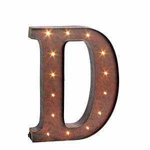 12 in h quotdquot rustic brown metal led lighted letter 92669d With lighted letter a