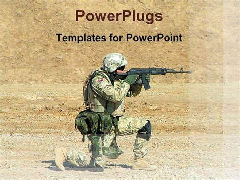 military powerpoint powerpoint template soldier with a gun positioning and aiming in a desert 9361