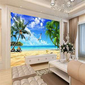 3D wallpaper beach landscape mural wallpaper for living ...
