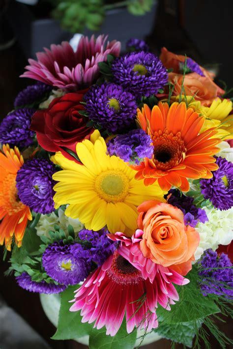bridesmaid bouquet  magenta orange yellow gerbera