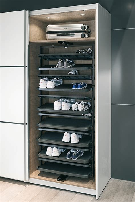 shoe rack extending  rotating  tall cabinets