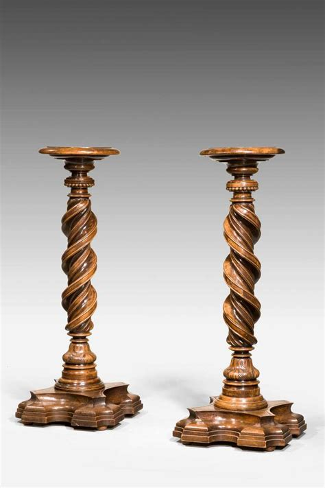 Pair Of Early 17th Century Italian Walnut Torcheres For