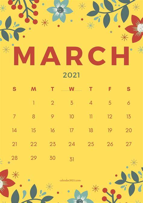 floral march  calendar printable