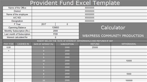 provident fund excel template  excel spreadsheets