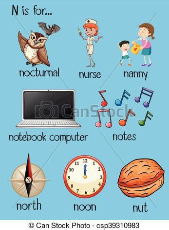 many words begin with letter n illustration 453895348 many words begin with letter n illustration vector 45105