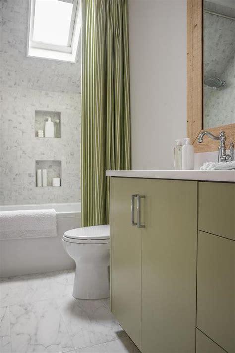 shower  green stripe curtain cottage bathroom