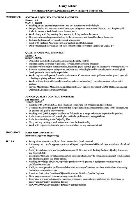 Quality Resume by Quality Engineer Description