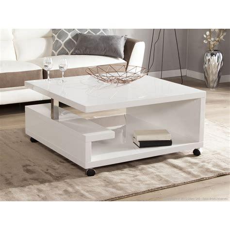 table basse carr 233 e en bois laqu 233 blanc hauteur 38 cm genes