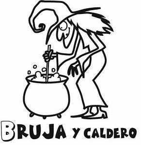 Imprimir: Dibujo para pintar en Halloween de bruja con caldero