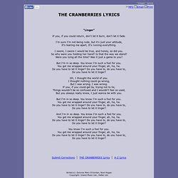 let it linger cranberries lyrics pearltrees