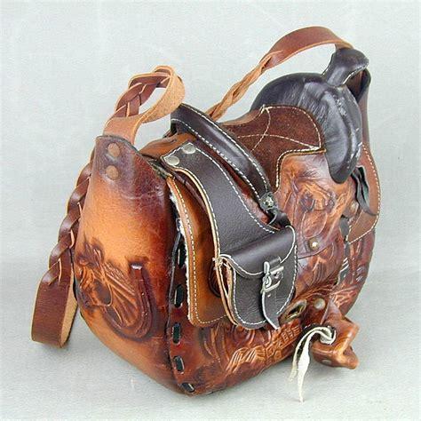 saddle leather western tooled hand bag handbag shoulder horses