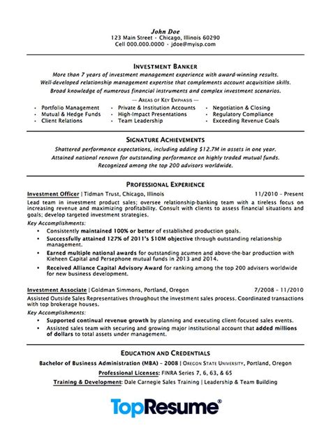 investment banking resume sle professional resume