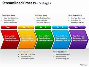 Streamlined Process 5 Stages Powerpoint Diagrams