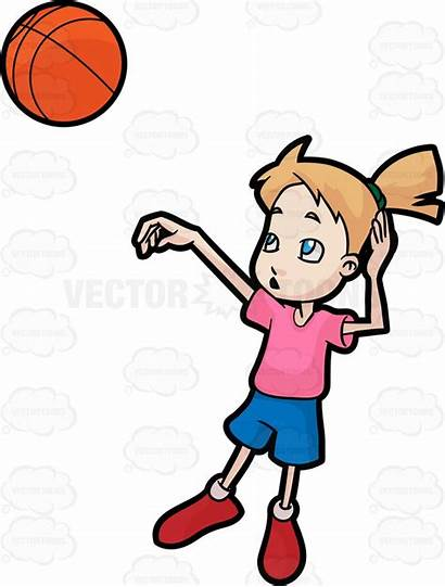 Basketball Cartoon Clipart Player Shooting Play Playing