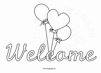 Welcome Word Coloring Sign Balloons Pages Coloringpage