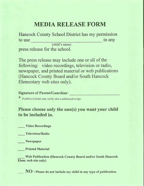 Media Authorization Form by Pin Media Release Form Template For Students On Pinterest
