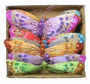Feather butterfly garland colorful glitter artificial