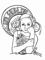 Coloring Nouveau Adult Pages Drawing Adults Inspiration Woman Books Drawings Deco Dessin Clipart Mucha Clip Children Prefer Alphonse Flower Coloriage sketch template