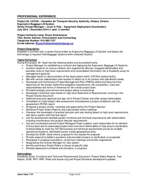 Project Manager Resume Exles 2014 by Jason Hyatt Pmp Resume Project Manager 2014 11 27