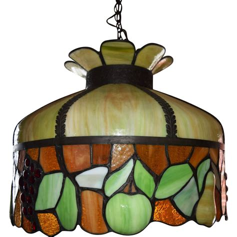 antique leaded stained glass chandelier fruit motif ca
