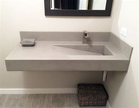 wall hung concrete bathroom sink   custom ramp sink