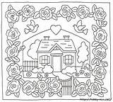 Patterns Embroidery Coloring Pages Cottage Hand Crazy Pattern Quilts Rug Rose Hill Applique Cottages Stitch Designs Garden Cross Holly Border sketch template