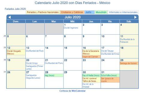 calendario julio imprimir mexico