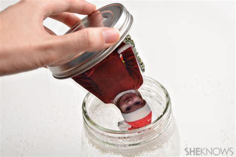 diy photo snow globe   jar