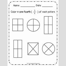 Insect Fractions  Color One Third  Printable Fractions Worksheet For First Graders School