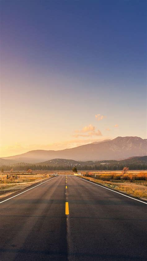 wallpaper road mountains sunset  world