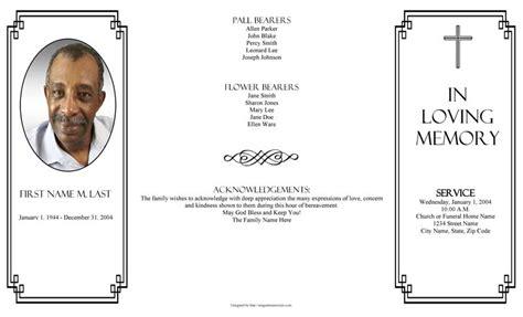 classic cross gatefold funeral program template elegant