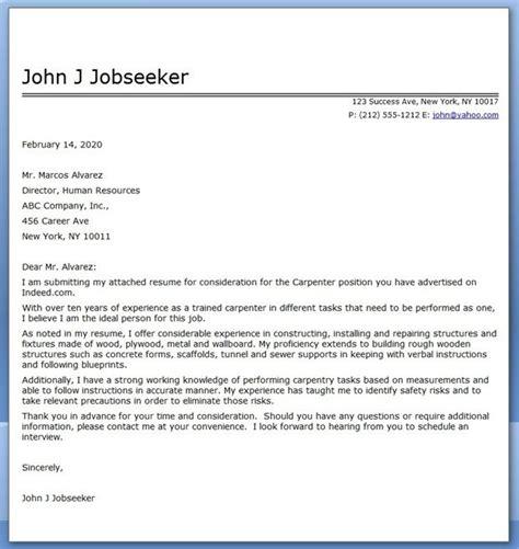 Sle Cover Letter For Carpenter by Carpenter Cover Letter For Resume Creative Resume Design