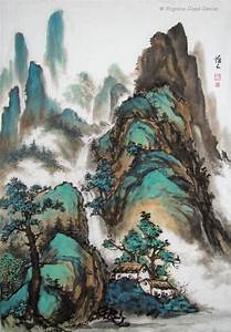 brush painting of mountains and houses