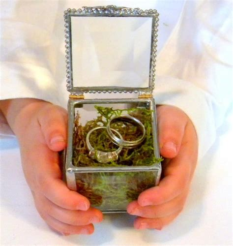 glass box ring bearer pillow alternative engraving space for 1 initial wedding ring box