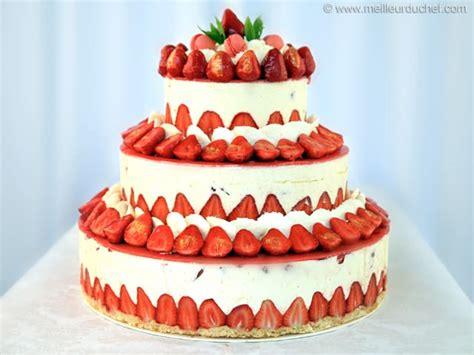 monte plat cuisine fraisier façon wedding cake fiche recette avec photos