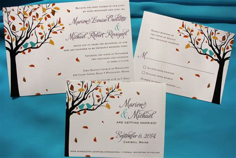 Purple & Turquoise Love Birds in a Fall Tree Wedding