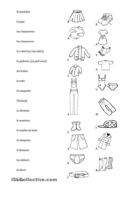 Vêtements, relie les mots et les images   French ...