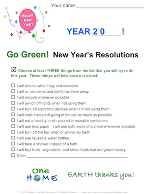 esl worksheets new year resolutions go green new year s resolution free esl worksheet