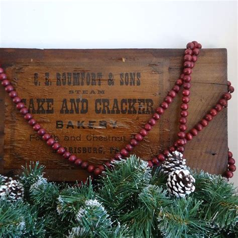 wood cranbery beads for christmas trees vintage decor 9 ft cranberry wood bead