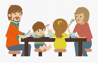 Eating Dinner Cartoon Table Kid Parents Parent