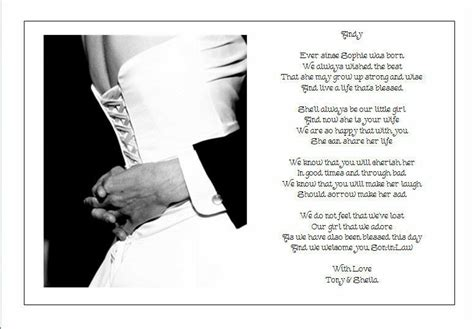 personalised wedding day poem gift  brides parents