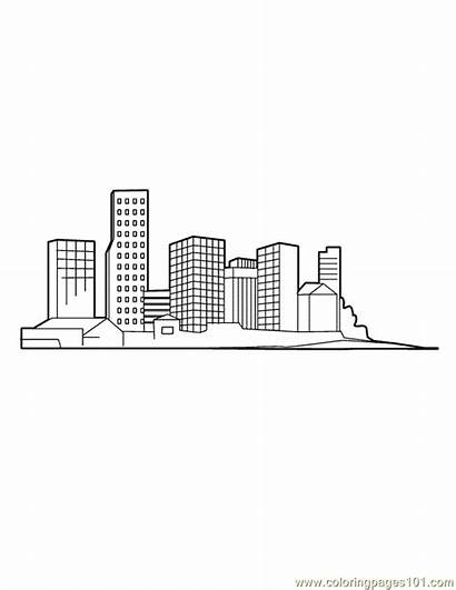 Coloring Downtown Pages Buildings Skyline Printable Simple