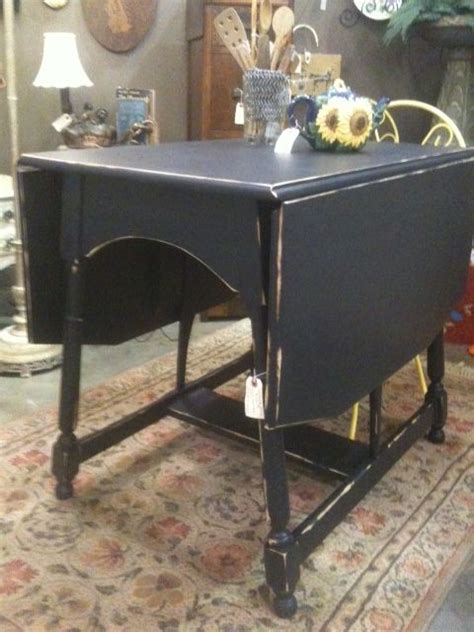 antique drop leaf table, redone shabby chic in flat black