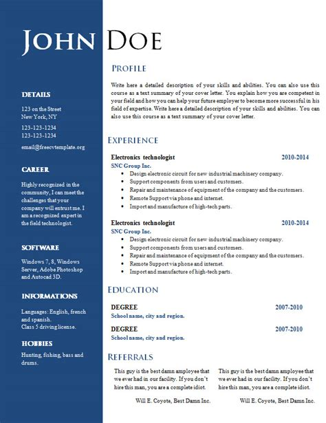 Free Resume Templates Word by Free Creative Resume Cv Template 547 To 553 Free Cv