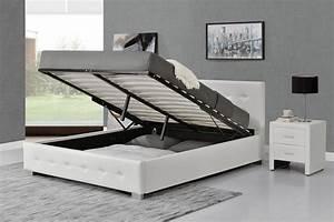 Lit 140 Avec Rangement : lit design capitonn 140x190 blanc avec coffre de rangement newington ~ Teatrodelosmanantiales.com Idées de Décoration