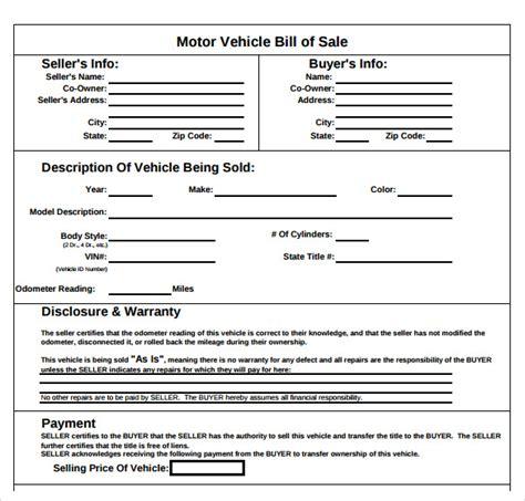 Bill Of Sale Template Pdf 8 Sle Auto Bill Of Sales Sle Templates