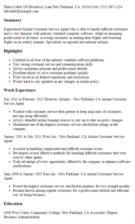 Airline Resume Template by Professional Airline Customer Service Templates To Showcase Your Talent Myperfectresume