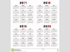 Calendrier Pour 2017, 2018, 2019, 2020 Illustration de