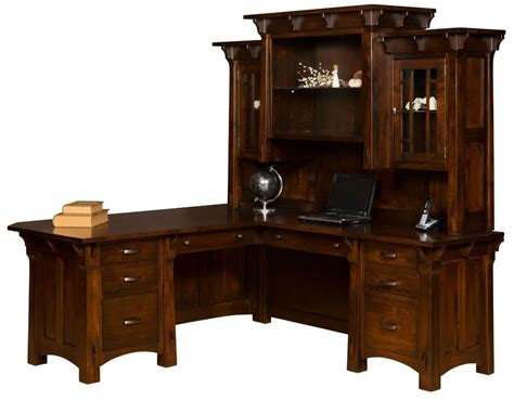 Office Desk Real Wood by Amish Mission Corner Computer Desk Hutch Home Office Solid