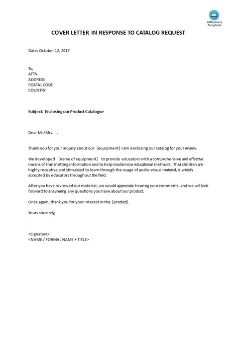 Request For Cover Letter by Cover Letter In Response To Catalog Request Templates At